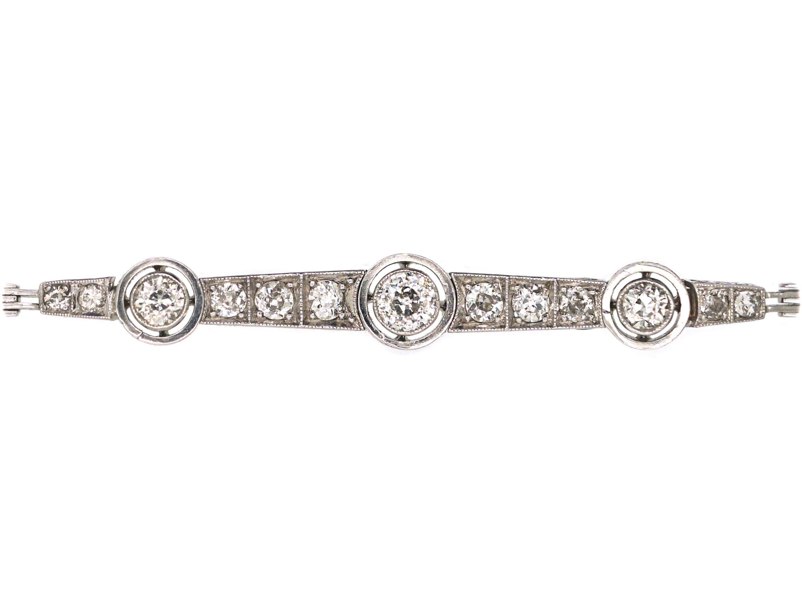 Art Deco 18ct White Gold Three Stone Diamond Bracelet