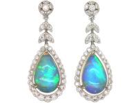 18ct White Gold Opal & Diamond Drop Earrings by Luke Stockley