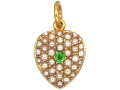 Edwardian 15ct Gold Heart Pendant set with Natural Split Pearls & A Demantoid Garnet