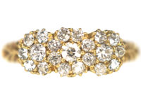 Edwardian 18ct Gold Diamond Triple Cluster Ring