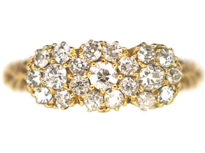 Edwardian 18ct Gold Diamond Triple Cluster Ring