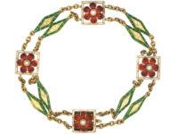 Victorian 15ct Gold, Enamel & Natural Pearls Jubilee Bracelet