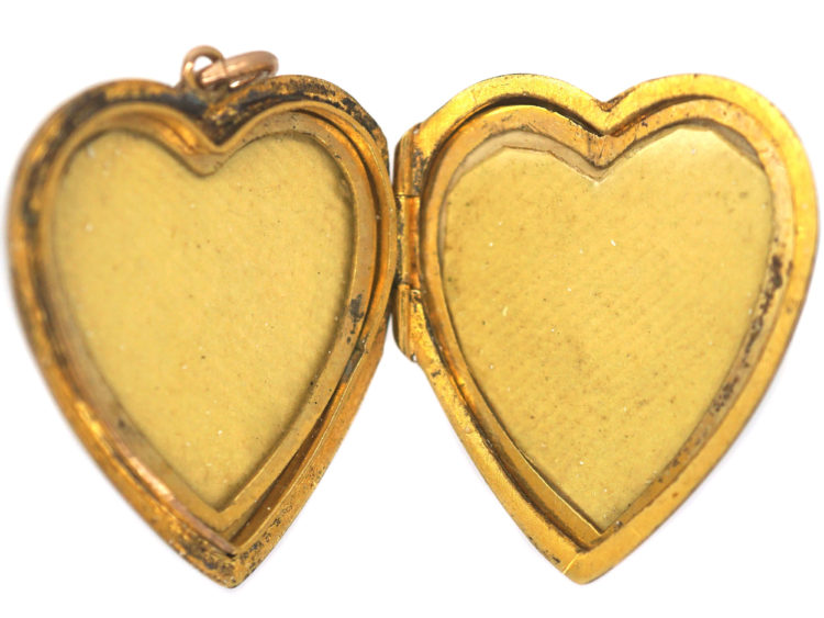 Edwardian 9ct Gold Back & Front Heart Shaped Locket