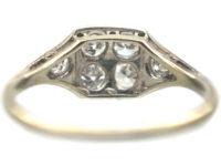Art Deco 18ct White Gold & Platinum Diamond Set Square Ring with Diamond Set Triangular Shoulders