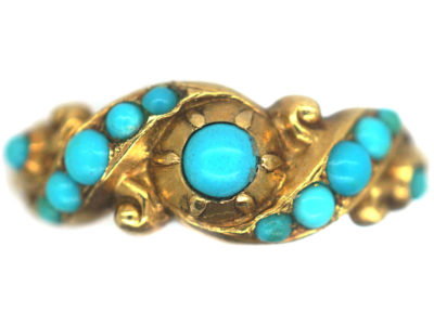Early Victorian 18ct Gold & Turquoise Forget Me Not Ring