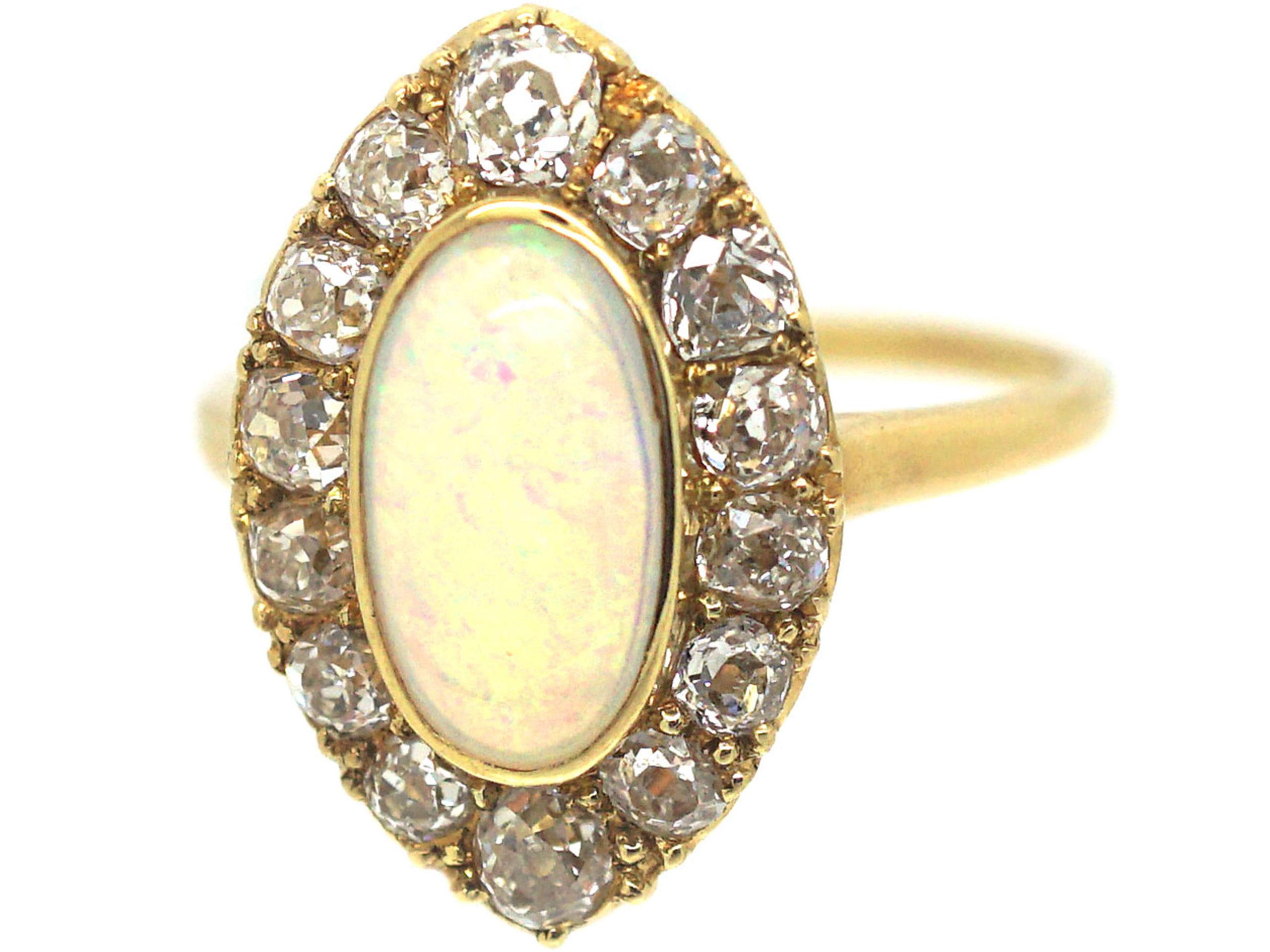 Edwardian 18ct Gold, Opal & Diamond Navette Shaped Ring