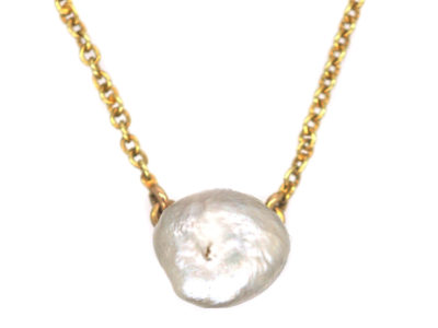 Edwardian 15ct Gold Chain with Baroque Pearl Necklace