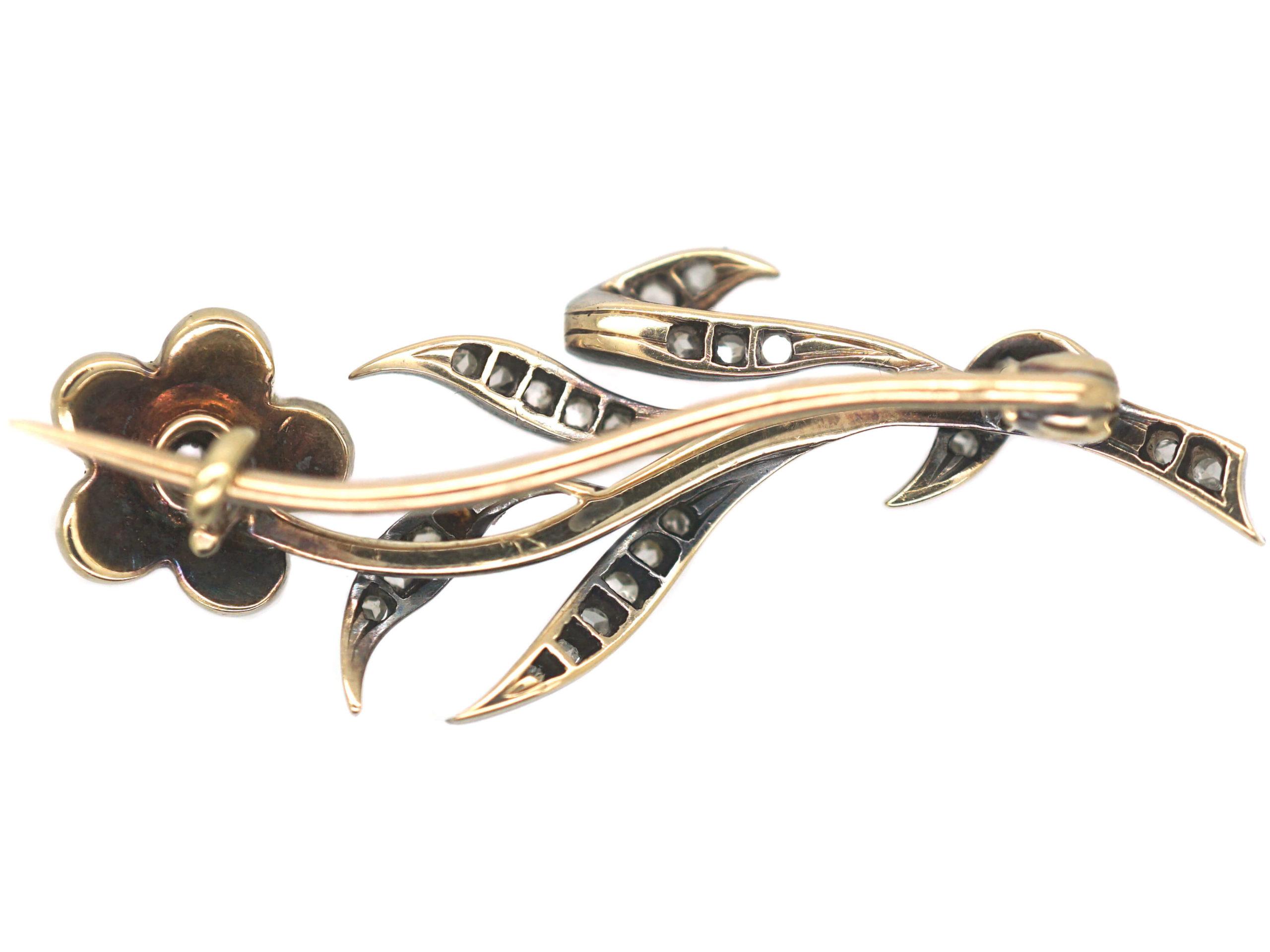 Edwardian Silver , Gold Diamond & Natural Split Pearls Flower Brooch