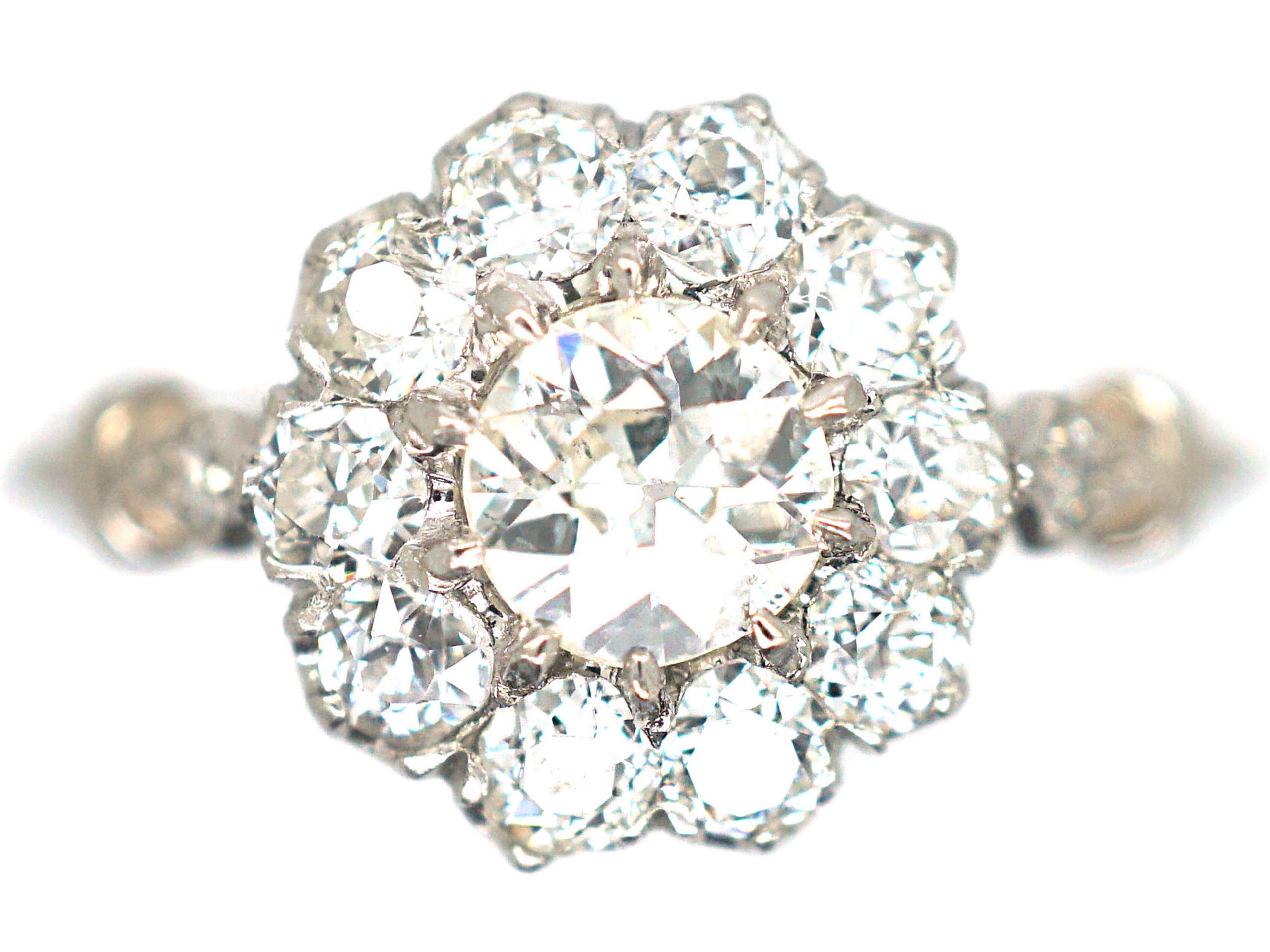 Edwardian Platinum & Diamond Cluster Ring with Diamond Set Shoulders