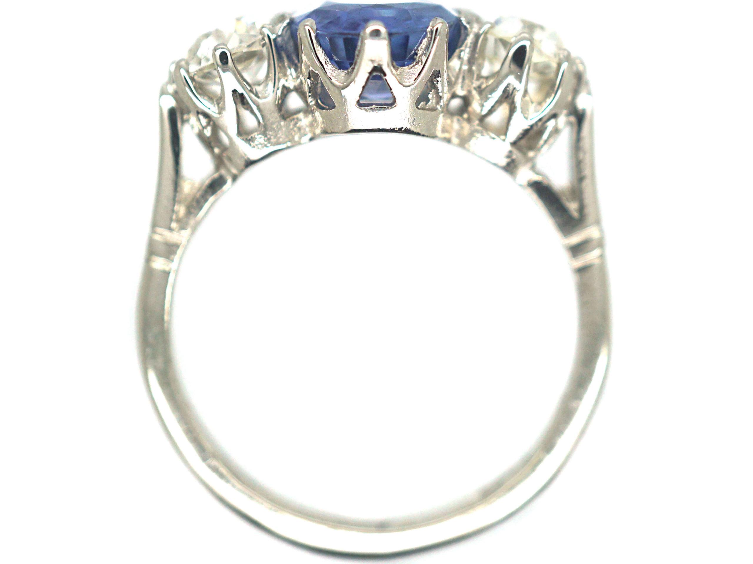 18ct White Gold & Platinum, Sapphire & Diamond Three Stone Ring
