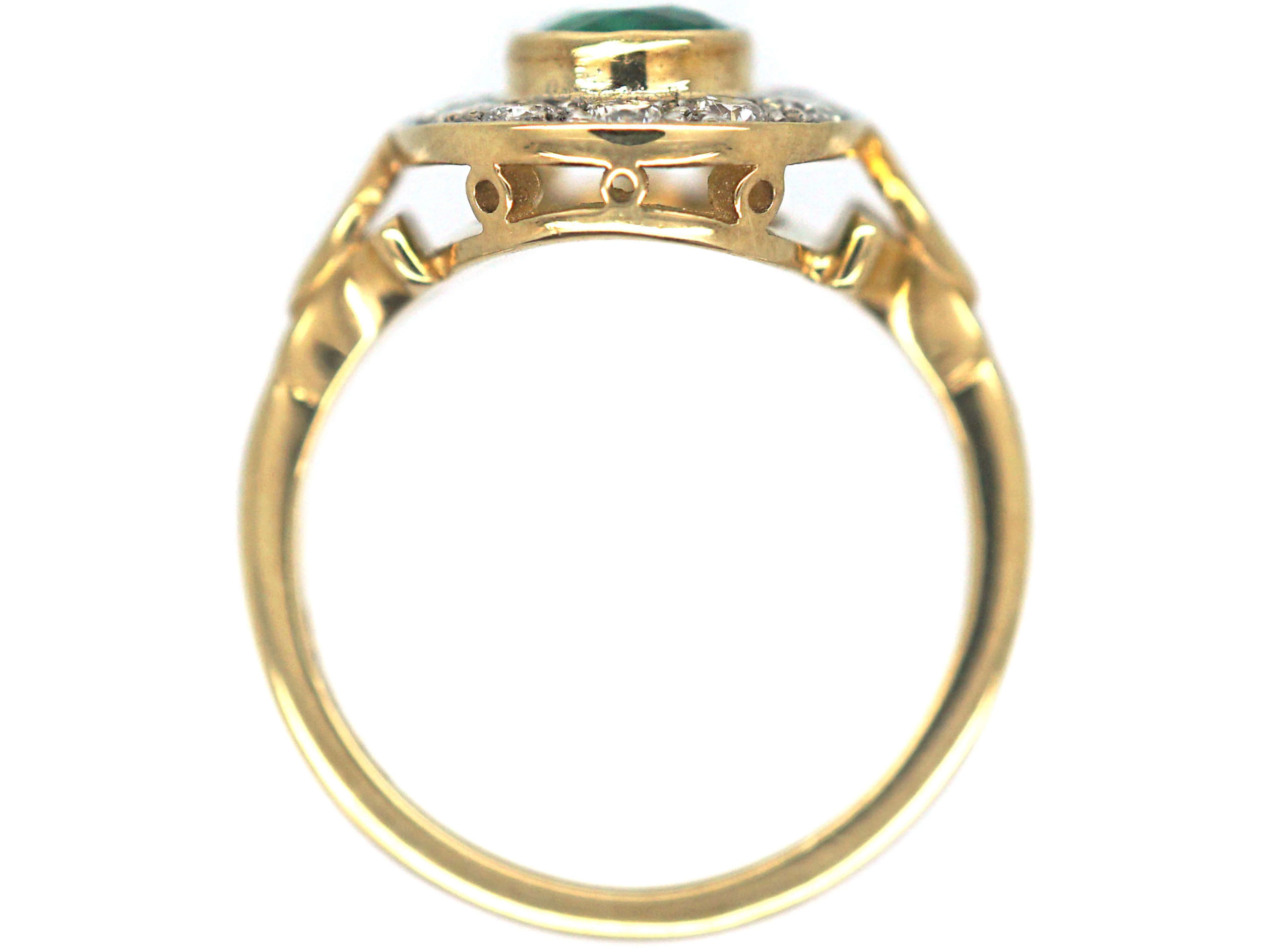 18ct Gold, Emerald & Diamond Oval Cluster Ring