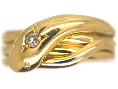 Edwardian 18ct Gold Snake Ring set with a Diamond