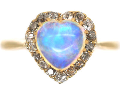 Edwardian 9ct Gold Heart Shaped Opal & Diamond Ring