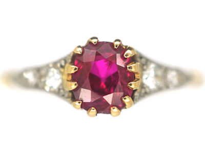 Edwardian 18ct Gold & Platinum, Ruby & Diamond Ring