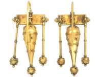 Victorian 15ct Gold Triple Drop Etruscan Revival Earrings