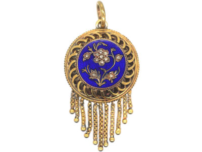 Victorian 18ct Gold Forget Me Not Royal Blue Enamel & Rose Diamond Pendant