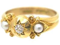 Edwardian 18ct Gold Diamond & Two Natural Split Pearls Ring