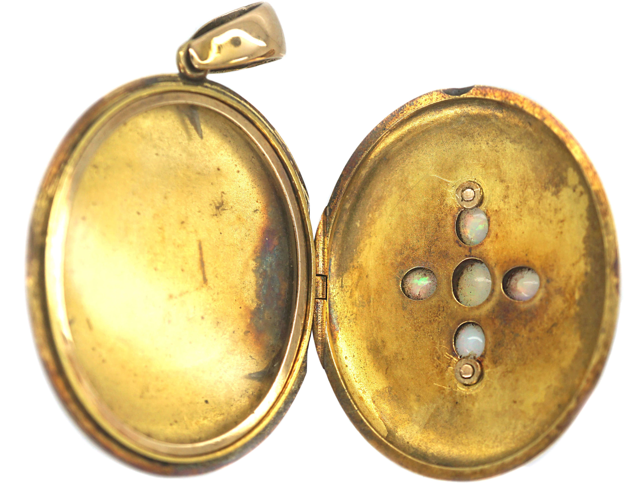 Victorian 15ct Gold Locket set with Opals & Rose Diamonds