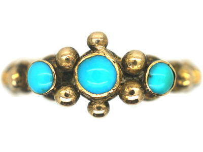 "Early Victorian 18ct Gold & Turquoise ""Forget me Not"" Ring"