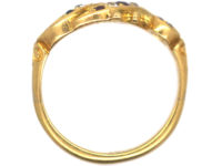Edwardian 18ct Gold Double Crossover Ring set with Sapphires, Rubies & Diamonds
