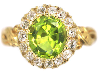Edwardian 18ct Gold Peridot & Diamond Cluster Ring