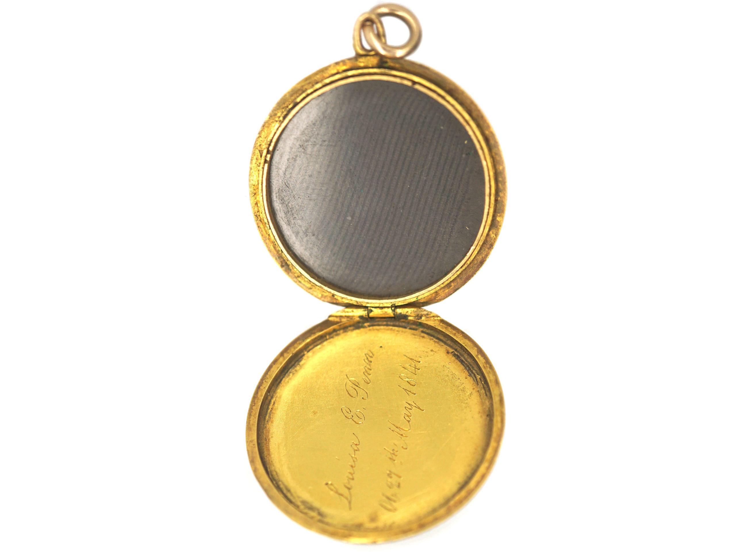 Victorian 18ct Gold Round Engraved Locket