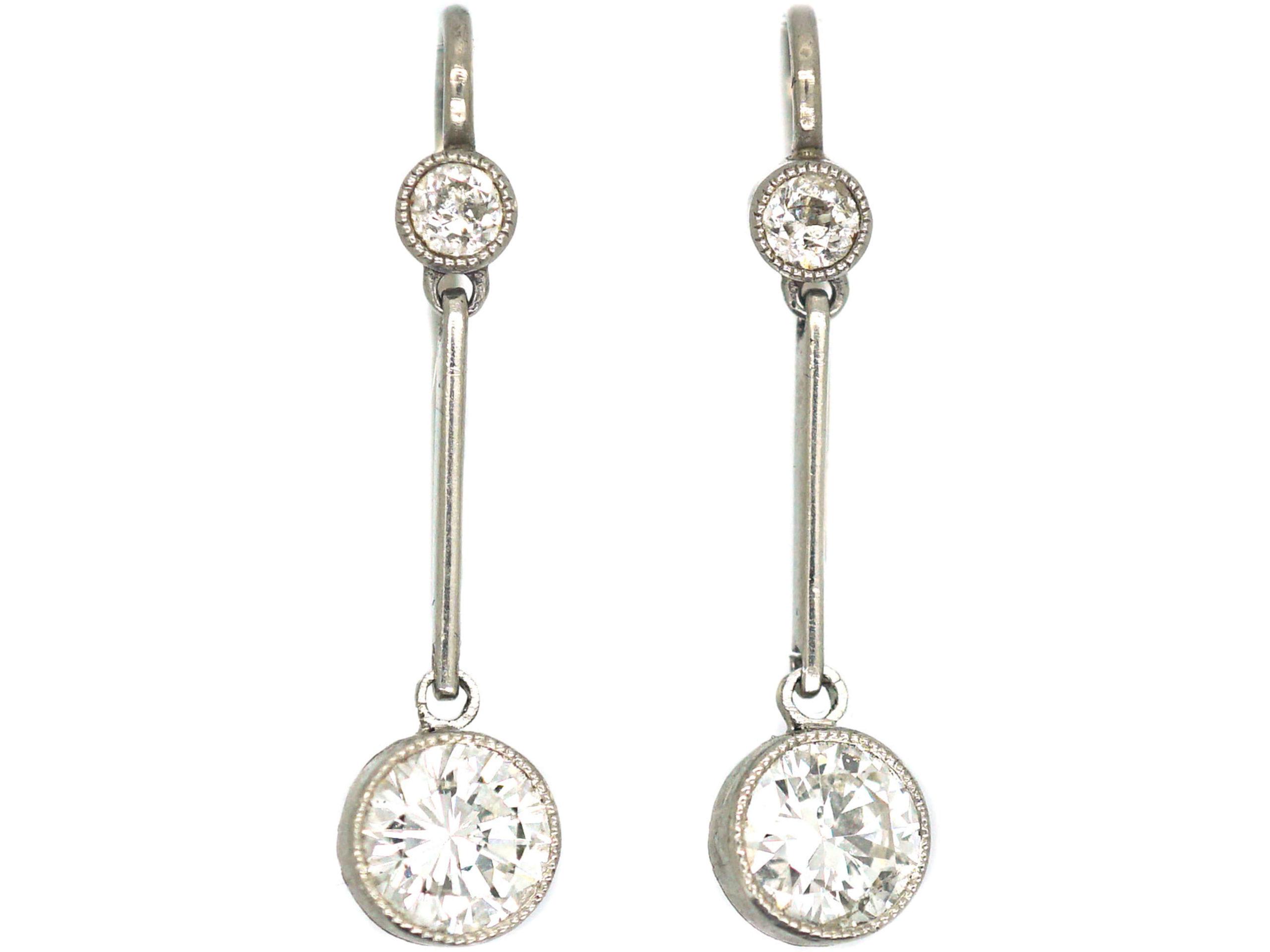 Art Deco Platinum Two Diamond Drop Earrings