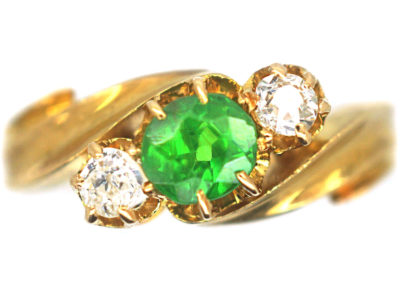 Edwardian 18ct Gold, Green Garnet & Diamond Crossover Ring