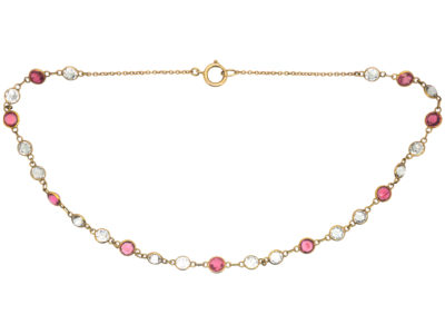 Edwardian 15ct Gold Pink Tourmaline & Rock Crystal Necklace