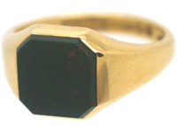 Art Deco 18ct Gold & Bloodstone Signet Ring