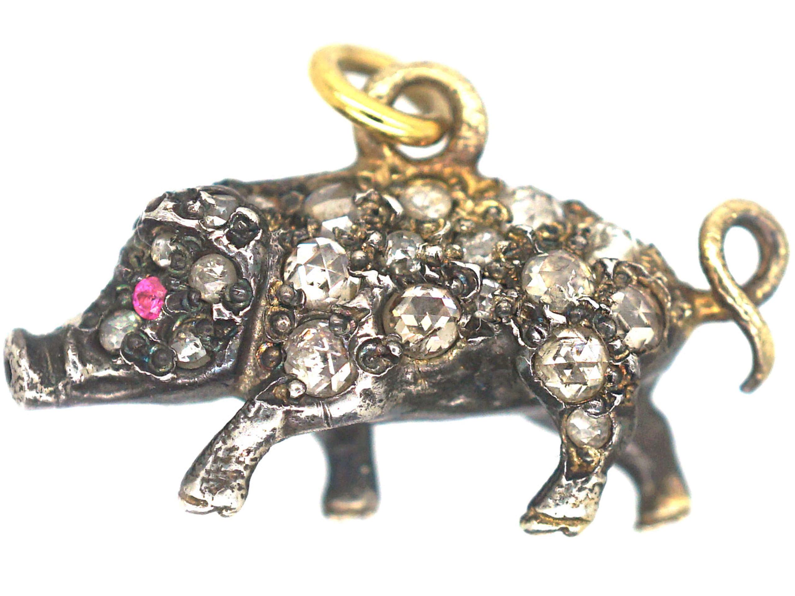 Rose Diamond Set Pig with Ruby Eyes