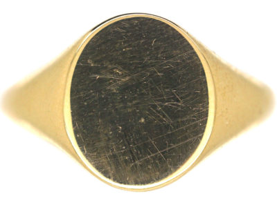 Art Deco 18ct Gold Plain Signet Ring