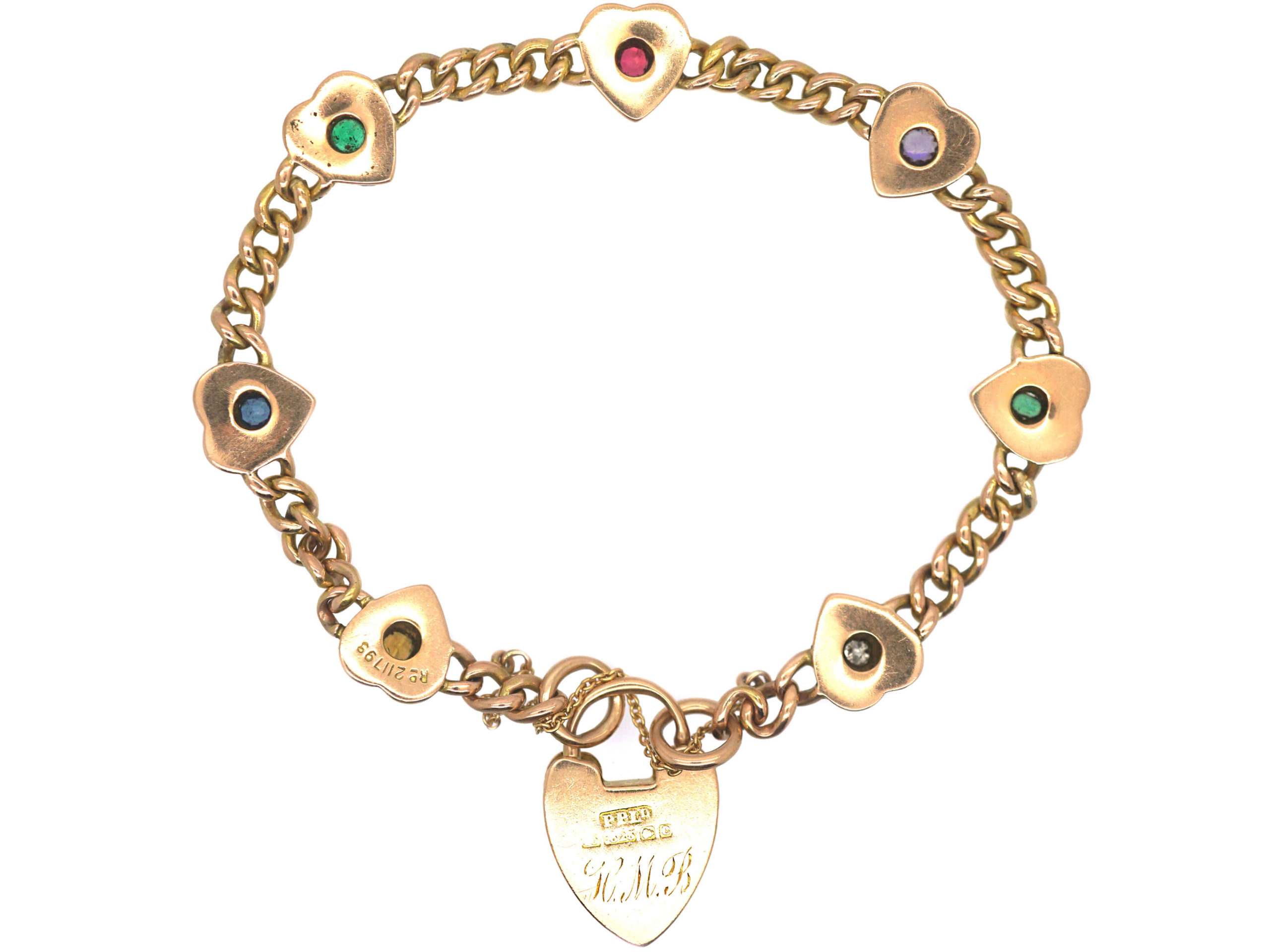 Edwardian 15ct Gold Hearts & Curb Motif Bracelet set with Gemstones that Spell Dearest
