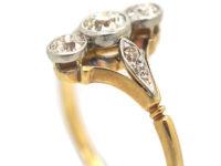 Art Deco 18ct Gold & Platinum, Three Stone Diamond Ring with Diamond Set Shoulders