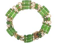Art Deco 9ct Gold & Nephrite Bracelet