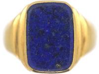 Art Deco 18ct Gold & Lapis Lazuli Signet Ring