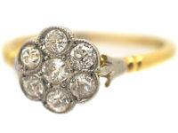 Edwardian 18ct Gold & Platinum Diamond Cluster Ring with Fleur de Lis Shoulders