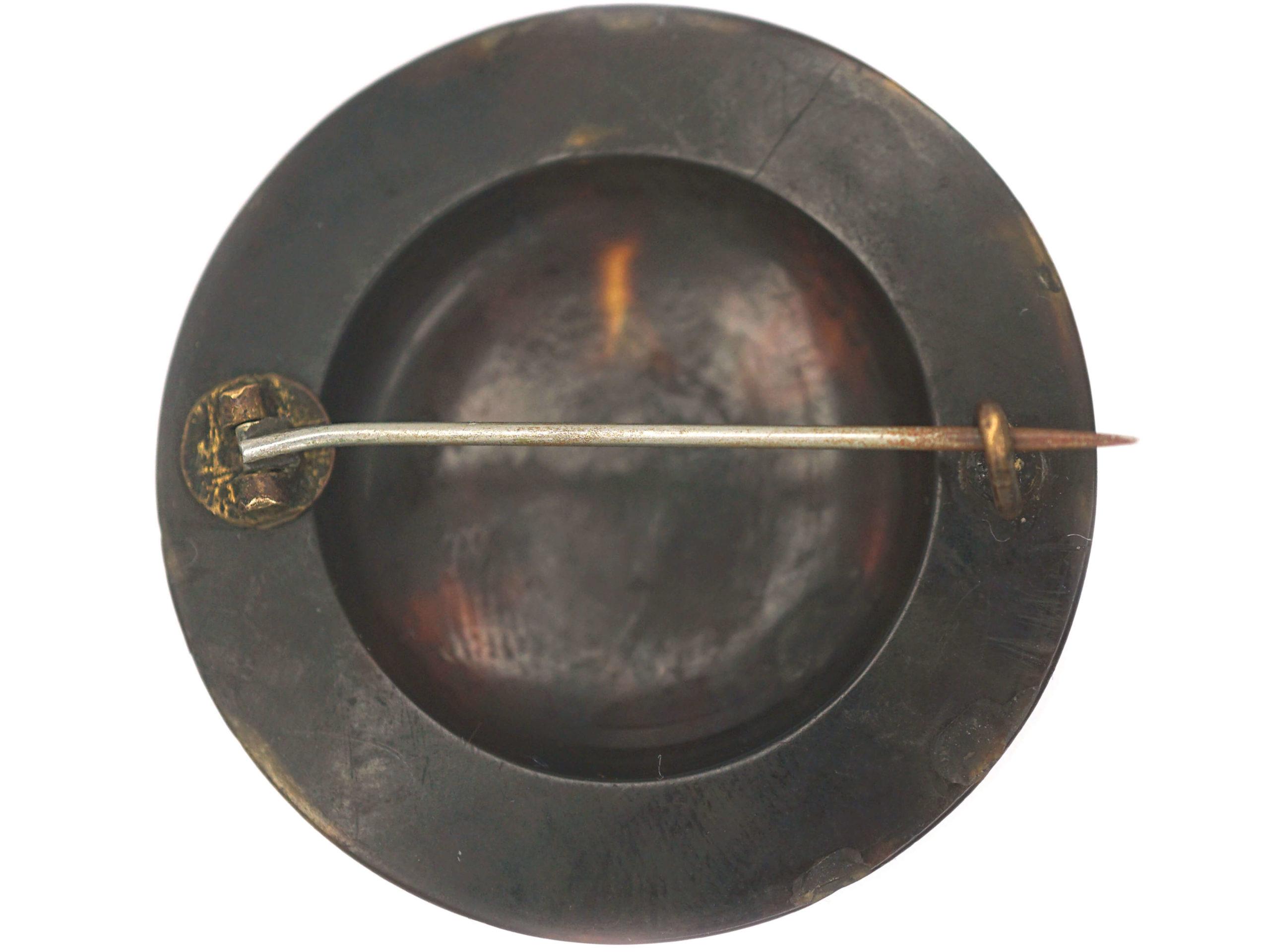 Victorian Tortoiseshell & Pique Round Brooch