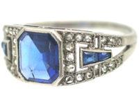 French Art Deco Platinum, Sapphire & Rose Diamond Ring
