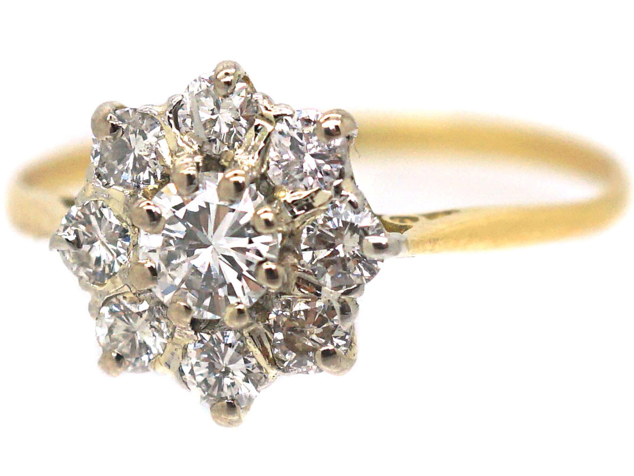 18ct Gold Diamond Daisy Cluster Ring