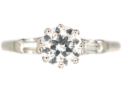 Art Deco Platinum & Diamond Solitaire Ring with Baguette Diamond Shoulders