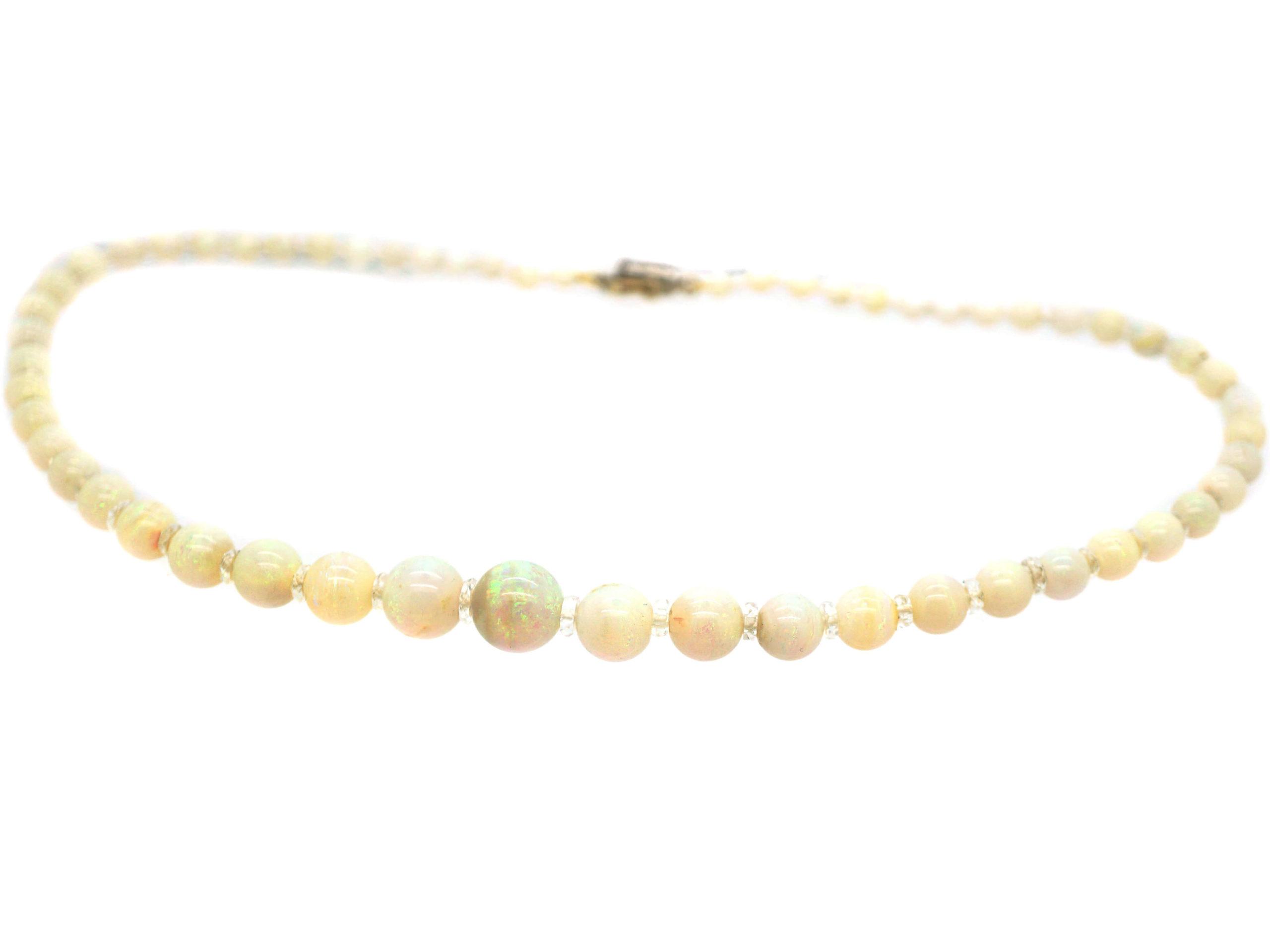 Edwardian Opal Beads with Diamond Set Clasp