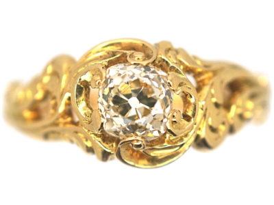 Victorian 18ct Gold Solitaire Ring with Foliate Shoulders