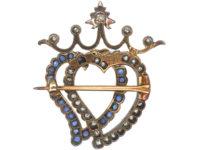 Edwardian Sapphire & Diamond Double Heart Brooch