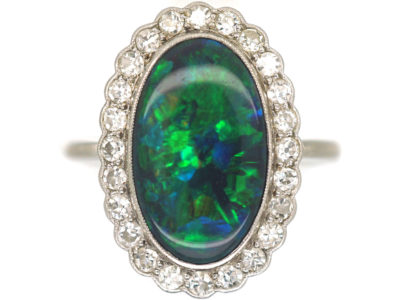 Edwardian 18ct White Gold & Platinum, Black Opal & Diamond Oval Cluster Ring