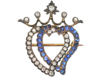 Edwardian Sapphire & Diamond Double Heart Brooch