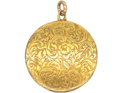 Victorian 18ct Gold Round Engraved Locket