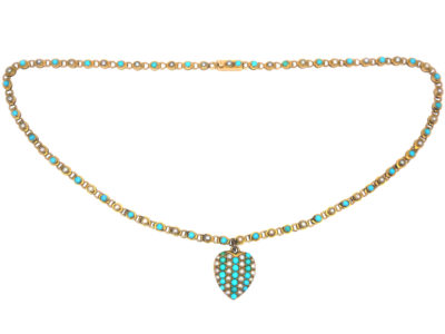 Edwardian 15ct Gold Turquoise & Natural Split Pearl Heart on a 15ct Gold & Turquoise Chain