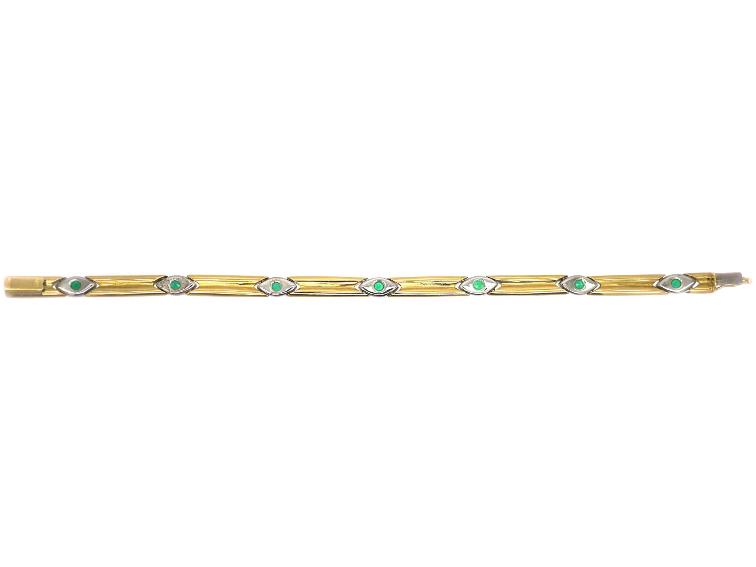 18ct White & Yellow Gold Bracelet  set with Seven Emeralds