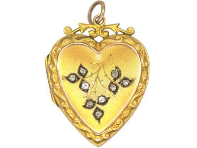Edwardian Heart Shaped Locket set with Paste